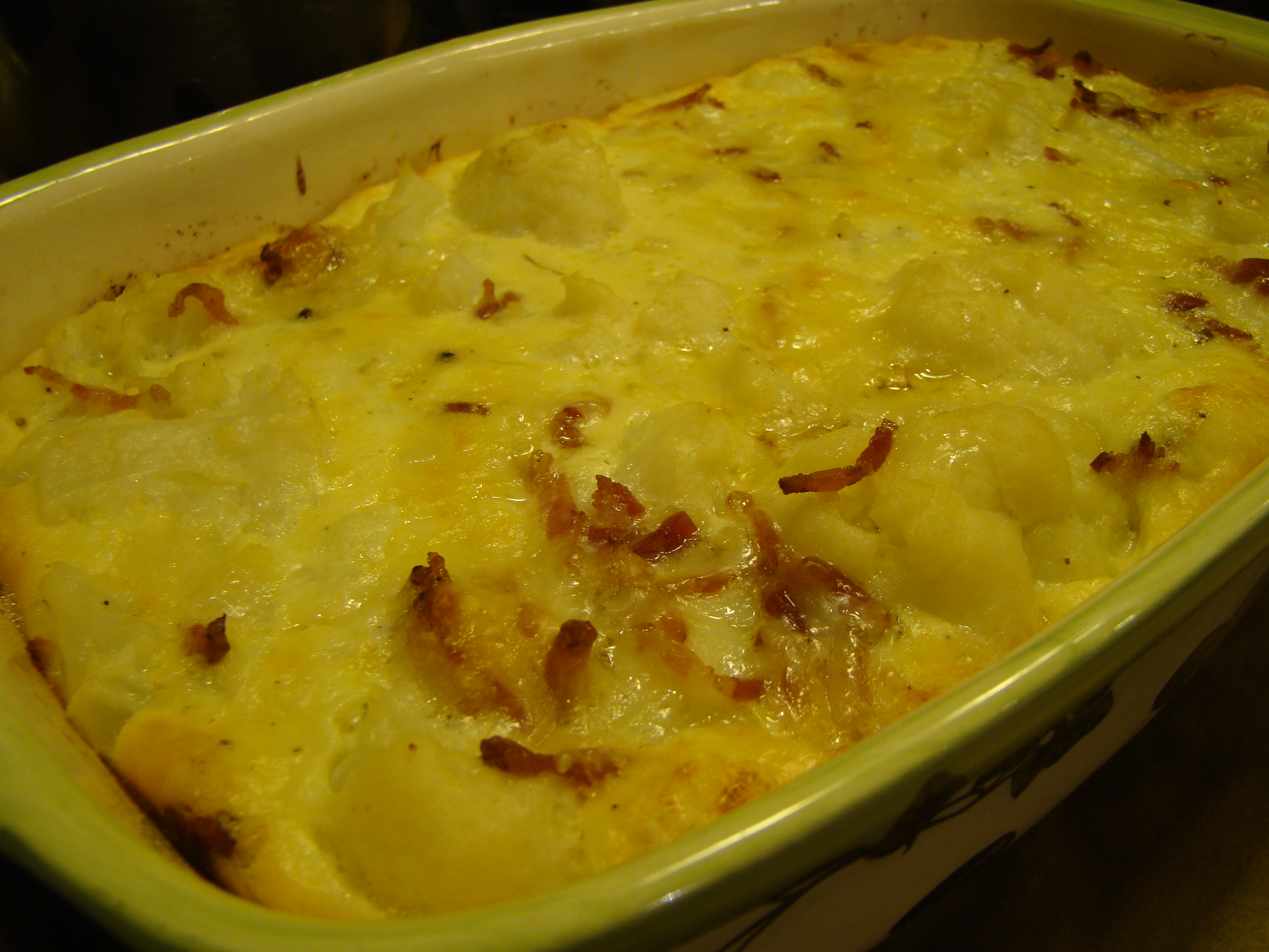 ... Fridays with Dorie: Cauliflower-Bacon Gratin | A Plateful of Happiness