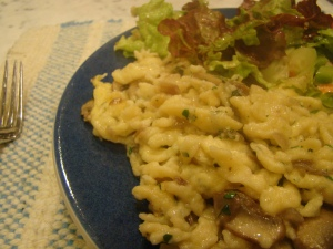 Spaetzle and Salad