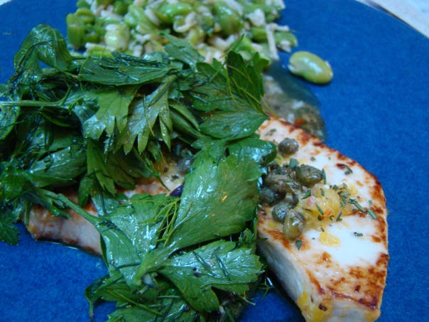 Swordfish with Frilly Salad