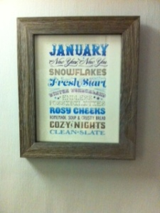 Thoughts on January from the cool new set of monthly inspirations my sister Jane gave me.