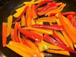 peppers in the pan