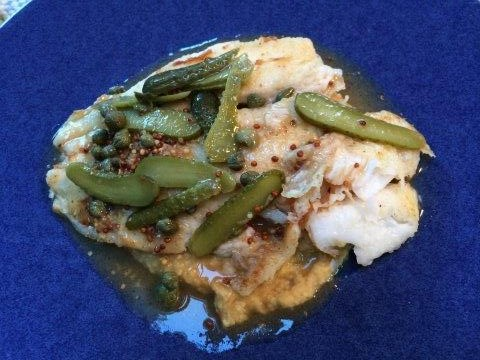 skate with capers, cornichons, and brown butter sauce