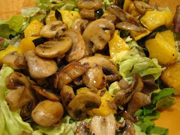squash-mushroom salad