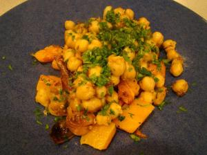 Merguez Chickpeas with Squash and Shallots