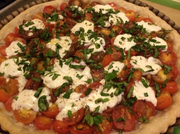 Tomato Basil Mozz Tart
