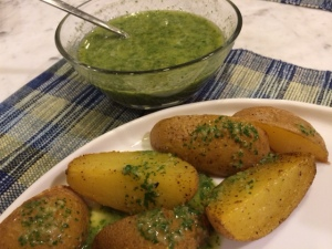 Potatoes with Green Mojo Sauce