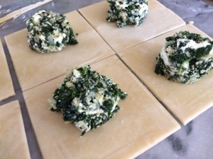 Prepping Spinach Pasties